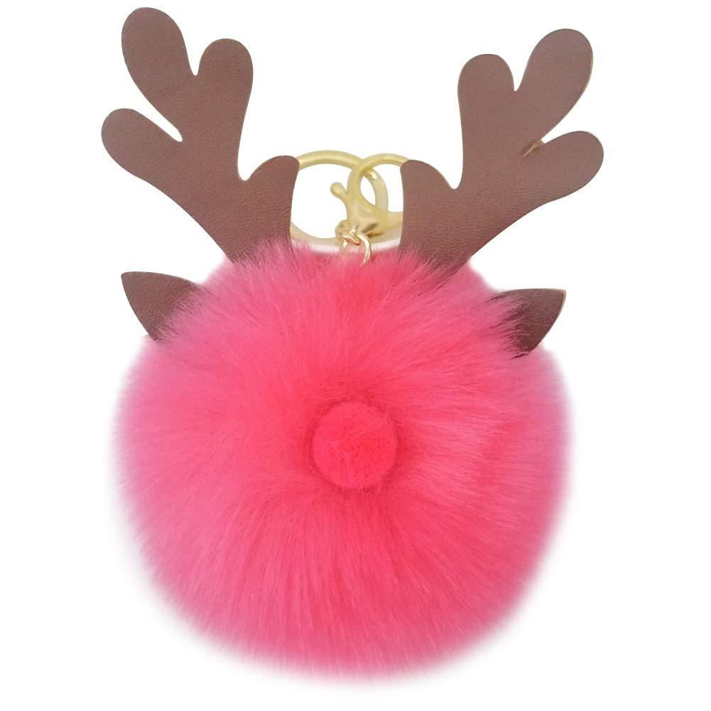 Sicond donne lovely Fluffy portachiave Natale alce ciondolo portachiavi in borsa borsa auto portachiavi fibbia auto accessori piccoli souvenir regalo di compleanno, metallo, 1, 18cm*14cm*10cm