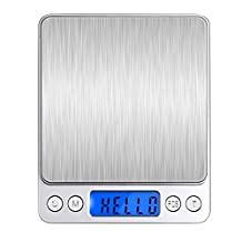 IDAODAN Digital Kitchen Scale, 500g/0.01g Pocket food scale, Multifunction Gram Scale with Back-Lit LCD Display, Tare, Hold and PCS Features, Stainless Steel Platform