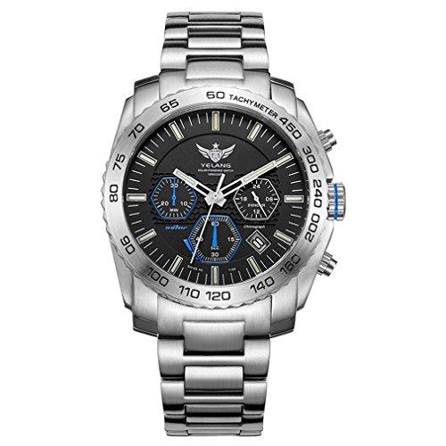 YELANG V1210 Solar Eco-Drive Movement 14pcs T100 Tritium Luminous Tubes Steel Strap Sapphire Glass Men Business Watch Sport Wristwatch - Silver Case Blue ()