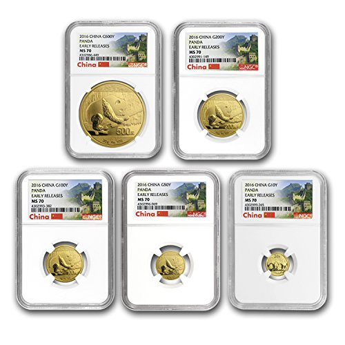 CN 2016 China 5-Coin Gold Panda Set MS-70 NGC (Early Releases) MS-70