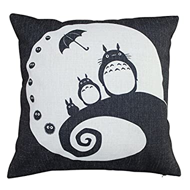 Double Sides My Neighbor Totoro Cotton Linen Decorative Pillow Cases Sofa Pillow Cover Moon tt4