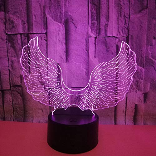 L2eD 3D Led Lamp Table Night Light 7 Color Change Light with Multicolored Touch Button Acrylic Power by USB Batteries Gifts Kids Black Angel ()