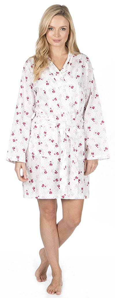 Ladies Floral Summer Kimono Dressing Gown Cotton Blend Tie Waist Robe Satin Piping White Blue Pink Size 10 12 14 16 18 20 22 24