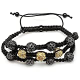 Dazzlingrock Collection Bracelet Pave Unisex Hip Hop 12 mm 8 Black & Three Yellow Disco Ball Faceted Bead Three Row Adjustable