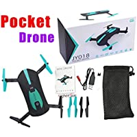 ShenStar JY018 Folding Drone with 0.3MP/2MP Wifi Camera Wifi Control One Key Return Quadcopter RC Helicopter Pocket Drone (2MP Green)