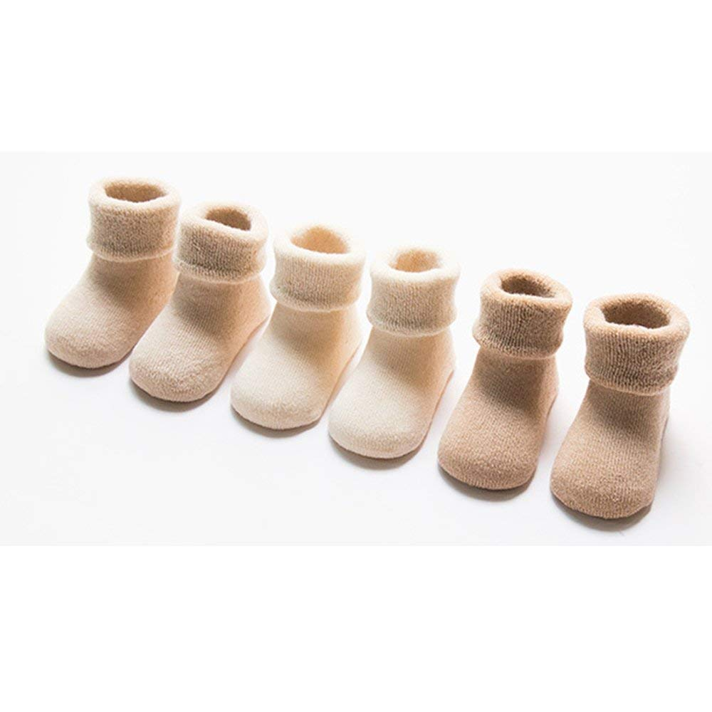 Brown Tcplyn 3 Pairs Infant Baby Socks Cute Warm Thick Terry Cotton Socks for 6-12 Months Baby S Yard