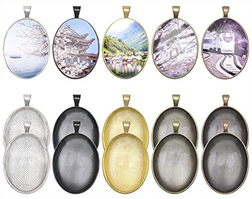 Penta Angel 10Pcs 5 Colors Oval Bezel Pendant Trays Bezel Setting Trays with 10Pcs Clear Glass Dome Cabochon for DIY Craft Photo Jewelry Making -
