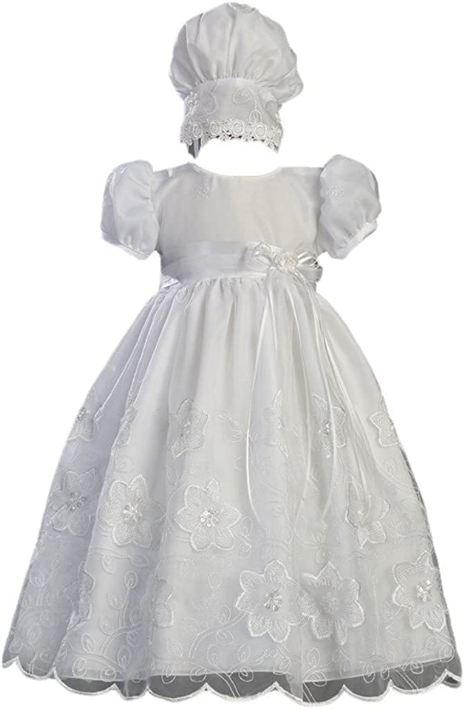 White Embroidered Organza Christening Baptism Gown with Matching Bonnet