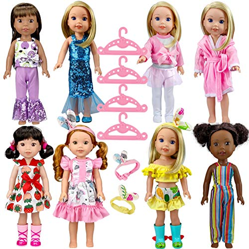 ARTST14.5 인치 인형 의류 및 액세서리(8 세트)14 인치 인형에 적합 14 인치 미국 소녀 WELLIEWISHERS 인형과 호환 가능