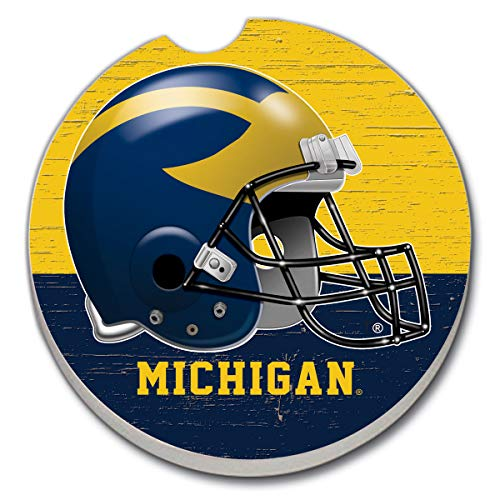 (CounterArt Absorbent Stone Single Fan Car Coaster- Helmet University of Michigan)