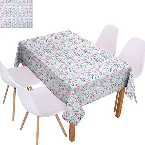 (Easy Care Tablecloth Baby Milk Bottles Pacifiers Rattles Pattern Hand Drawn Baby Toys Themed Ornate Image Picnic W52 xL70 Pink Blue White)