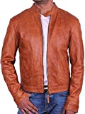 BRANDSLOCK Mens Biker Leather Bomber Jacket Coat Designer â-ºBEST SELLERâ-' (XXX-Large-Fits Chest 44-46 inches, Tan)