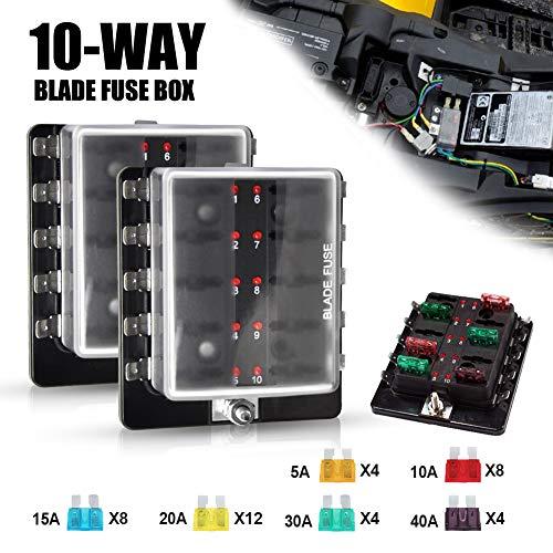 Liteway 10-Way Blade Fuse Box (2PCS) 12-32V LED Illuminated Automotive Fuse Block for Car Boat Marine Trike with LED Warning Light Kit, 2 Years Warranty