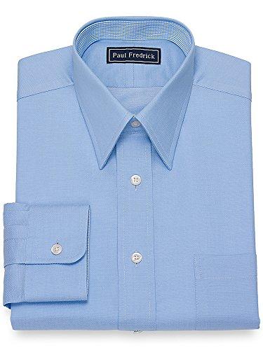 Paul Fredrick Men's Cotton Mini Herringbone Dress Shirt Blue 16.5/34
