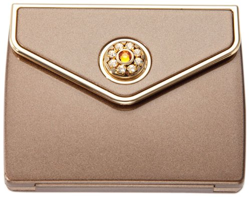 Brandon Femme M801 7X Normal View Swarovski Rhinestone Compact Mirror, Bronze