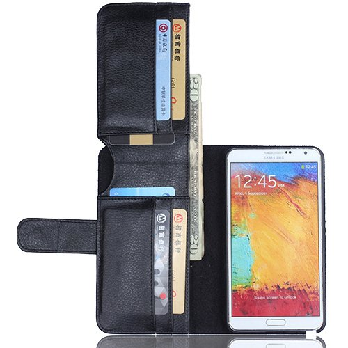 Samsung Galaxy Note 3 N9000 N9005 case,Vandot Premium Litchi Texture PU Leather Book Style Men Wallet Bag Case With Credit Card Slots Holder Flip Folio Stand Magnetic Protective Skin Cover Shell-Black