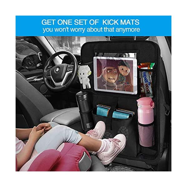 51eI9PjX3yL Auto Rückenlehnenschutz, opamoo 2 Stück Auto Rücksitz Organizer für Kinder, Große Taschen und iPad-/Tablet-Fach…