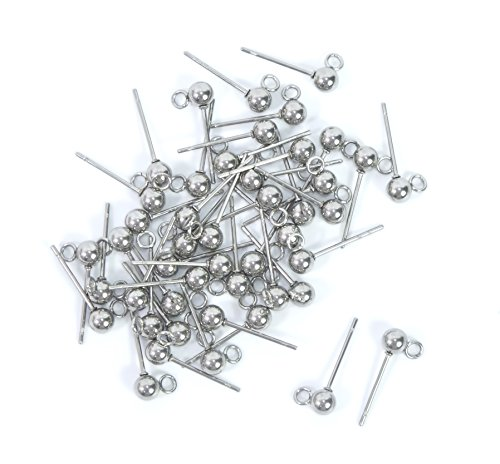 ALL in ONE 100pcs Wholesale Stainless Steel Earring Hooks Findings for DIY Jewelry Making (4mm Solid Ball Post with Loop)