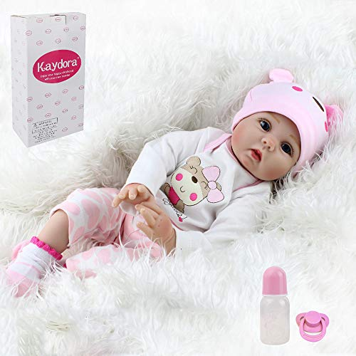Kaydora Reborn Baby Doll Girl, 22 inch Soft Weighted Body, Cute Lifelike Handmade Silicone Doll (A Doll That Looks Like My Child)