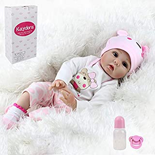 Kaydora Reborn Baby Doll Girl, 22 inch Soft Weighted Body, Cute Lifelike Handmade Silicone Doll