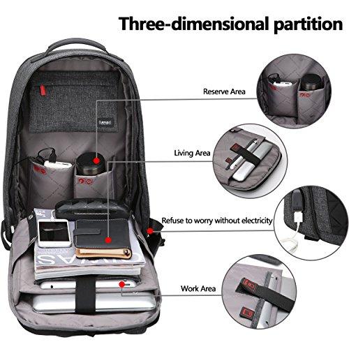 44d189d2e6 OIWAS Sac à Dos Pour Ordinateur Portable Etanche Antivol Avec Câble USB Et  Port De Charge