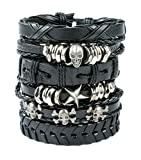 Best Bracelets With Skulls - REVOLIA 6Pcs Braided Leather Bracelets for Men Women Review
