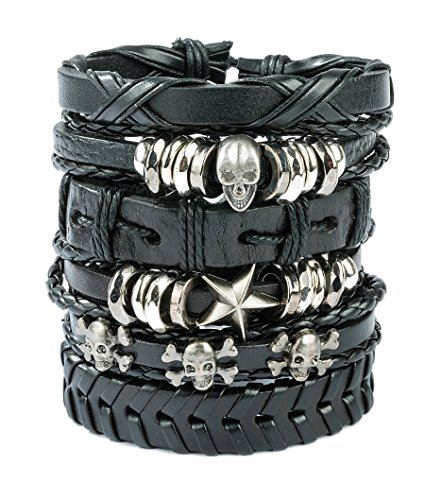 REVOLIA 6Pcs Braided Leather Bracelets for Men Women Cuff Wrap Wristbands c(Skull)