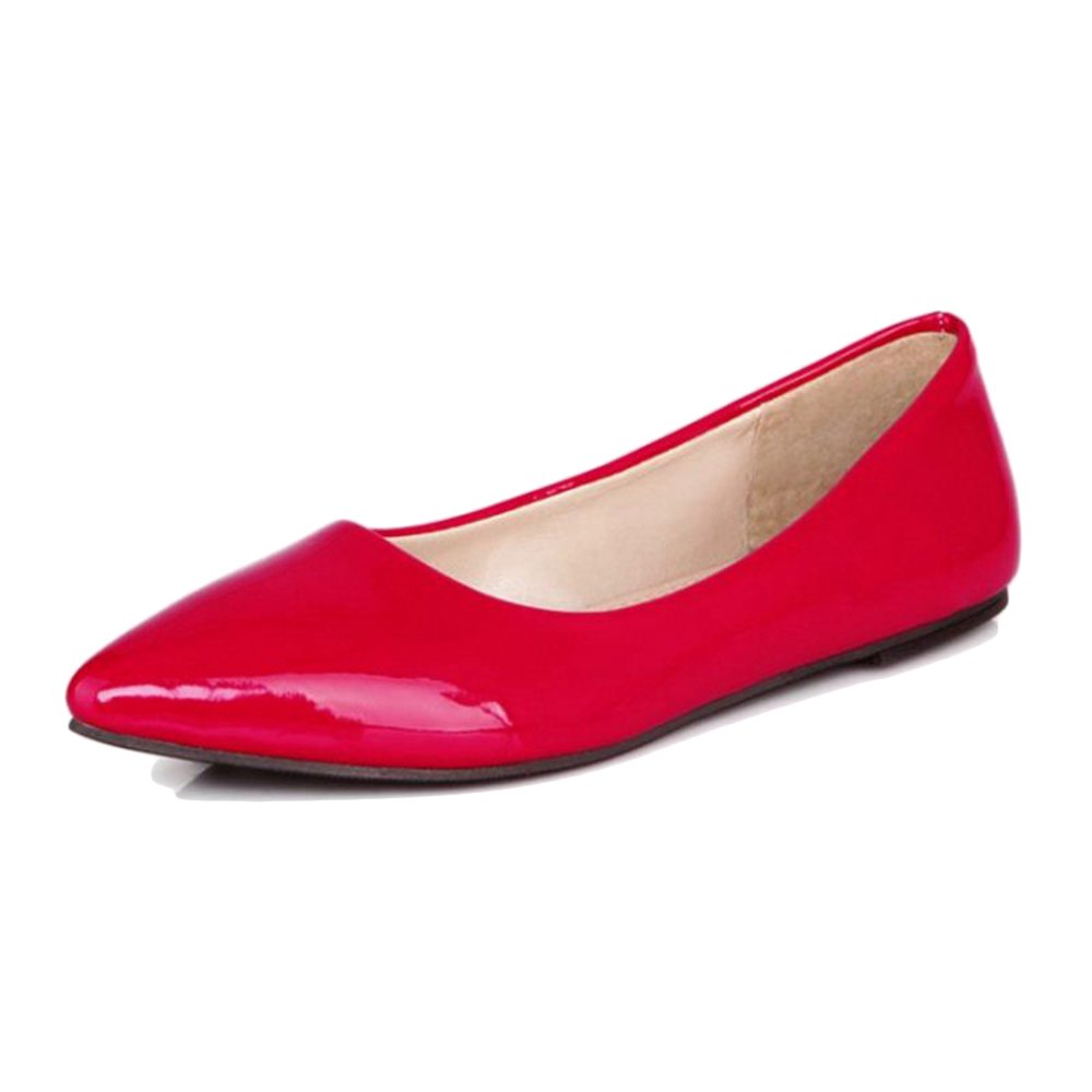 Smilice Women Flats Patent Leather Pointed Toe Slip-on Shoes 6 Colors Available Size 1-13 US B06XCFJ8K5 35 EU = US 4 = 22.5 CM|Red