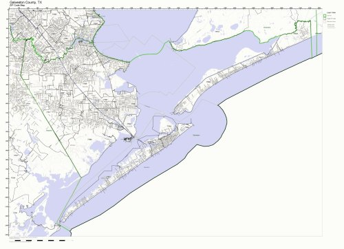 Galveston County, Texas TX ZIP Code Map Not Laminated