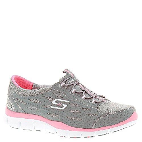 Skechers Deportivo Mujer Gratis Zapatillas de deporte elegante y elegante, punto negro - Gray Pink
