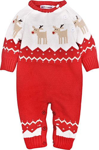 ZOEREA Newborn Baby Romper Christmas Clothes Knitted Sweaters Reindeer -