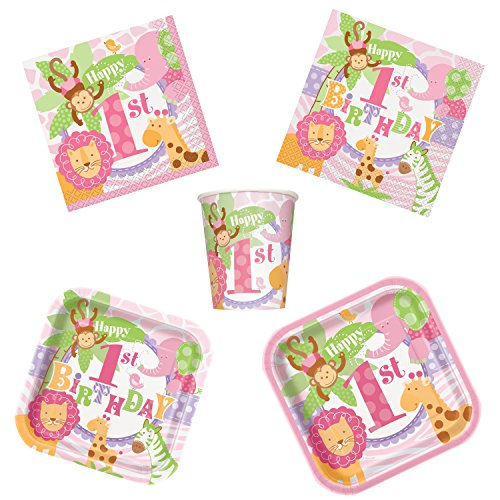 Unique Pink Safari 1st Birthday Party Bundle | Luncheon & Beverage Napkins, Dinner & Dessert Plates, Cups | Great for Animal Themed Parties by Unique