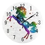 ALAZA Home Decor Rainbow Unicorn Galaxy Nebula Star Round Acrylic Wall Clock Non Ticking Silent Clock Art for Living Room Kitchen Bedroom