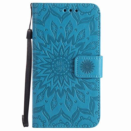 Yiizy Microsoft Lumia 640 LTE Custodia Cover, Sole Petali Design Sottile Flip Portafoglio PU Pelle Cuoio Copertura Shell Case Slot Schede Cavalletto Stile Libro Bumper Protettivo Borsa (Blu)