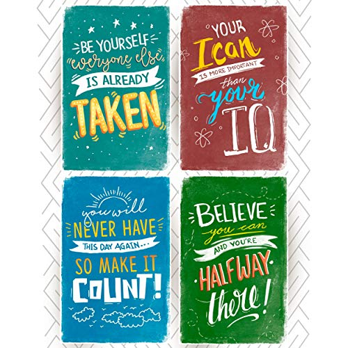 Throwback Traits Kids Room Posters with Inspirational Motivational Phrases, Great as Gift for Boys or Teens. Wall Art Decor with Quotes for Room or Classroom Posters