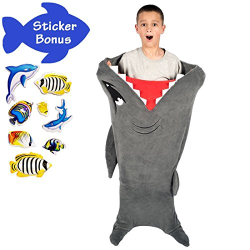 Cozy Kids Snuggie Tails - Durable Seamless Design and Enlarged Size - no Holes or Tears - Snuggle Shark Blanket - Grey Plush Throw Sleeping Bag with Fin and Blankie (Toddler Hammerhead Shark Costumes)