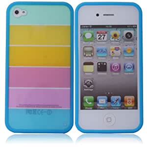 Rainbow Hard Cover Case for Iphone 4 4s Blue Side