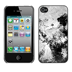 For iPhone 4 / 4S - Black And White Painting /Modelo de la piel protectora de la cubierta del caso/ - Super Marley Shop -