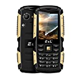 E&L S600 Rugged Unlocked Cellphones with IP68 Waterproof Dustproof 2G GSM Rugged Cell Phone Unlocked Rugged Phone (Gold)