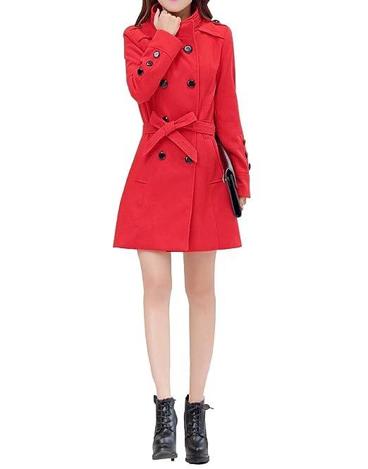 Betrothales Mujer Gabardina Primavera Otoño Manga Larga Vintage Elegante Moda Abrigos Fiesta Parkas con Cinturón Doble Botonadura Stand Cuello Cazadoras: ...