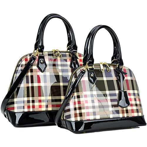 Women Handbag 2 Pieces Set Leather Shoulder Bag Satchel Purse 2 in 1 Plaid Design Black