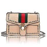 Designer Bee Crossbody Bag for Women Fashion Single Shoulder Bags with Chain Messager Handbags (Khaki)