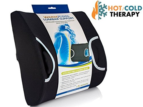 Vaunn Medical Lumbar Back Support Cushion Pillow with Warm/Cool Gel Pad and Removable Firm Insert