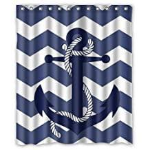 Custom Special Amazing Chevron Anchor Pattern Print With Navy Blue Chevron Zig Zag Waterproof Bathroom Decor,Polyester Fabric Shower Curtains,60(w) x 72(h)