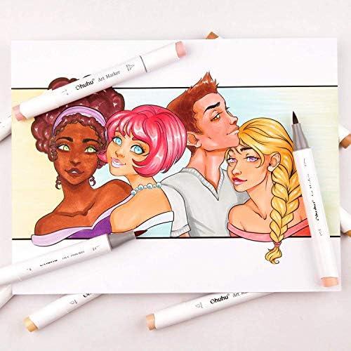 24 Hauttonfarben Alkohol-Marker, Ohuhu Pinsel & Meißel, Sketch Kunst Marker, Pinsel-Marker auf Alkoholbasis für Kinder und Erwachsene, Illustration, Mittelton-Hautton- und Haarschattierungs-Marker Set