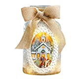 Collections Etc Lighted Snowy Church Glass Jar Tabletop Decoration