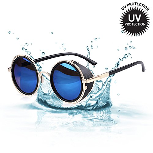 LOMOL Retro Steampunk Rock Metal Frame UV Protection Round Sunglasses For - Coupon Warehouse Sunglasses