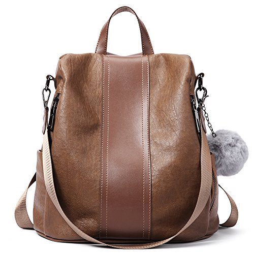 Women Backpack Purse Soft Leather Anti theft Covertible Handbag Lightweight Waterproof School Shoulder Bag brown