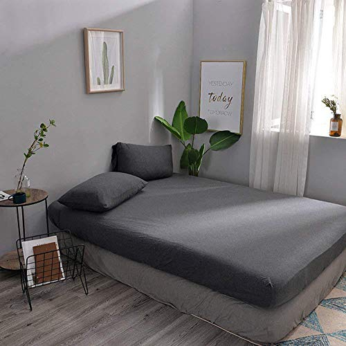 LIFETOWN Jersey Knit Cotton Fitted Sheet Queen Size Dark Gray Fitted Sheet Set 3 Pieces, 15