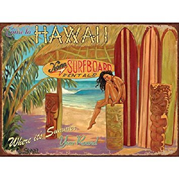 Come to Hawaii Metal Sign: Surfing and Tropical Decor Wall Accent ()